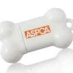 Custom Dog bone USB flash drive with logo print.