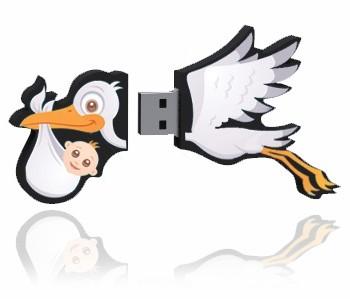 Custom Stork USB Flash Drive Open