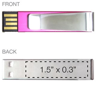 Metal Clip Flash Drive Imprint Area