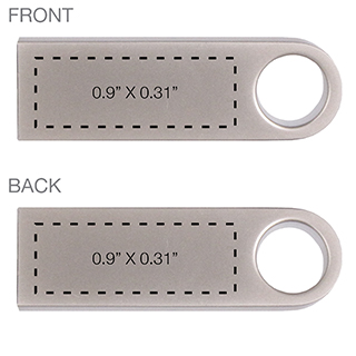 Aluminum Key Chain USB Drive Imprint Area